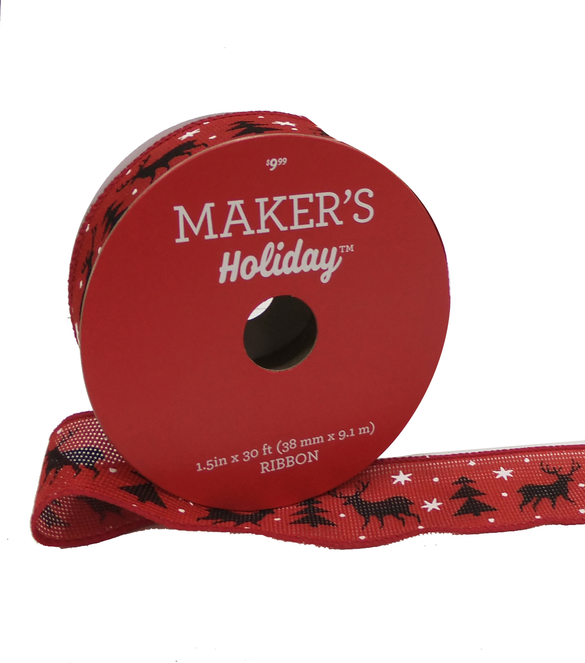Maker's Holiday Christmas Ribbon 1.5''x30'-Black Deer & Tree on Red