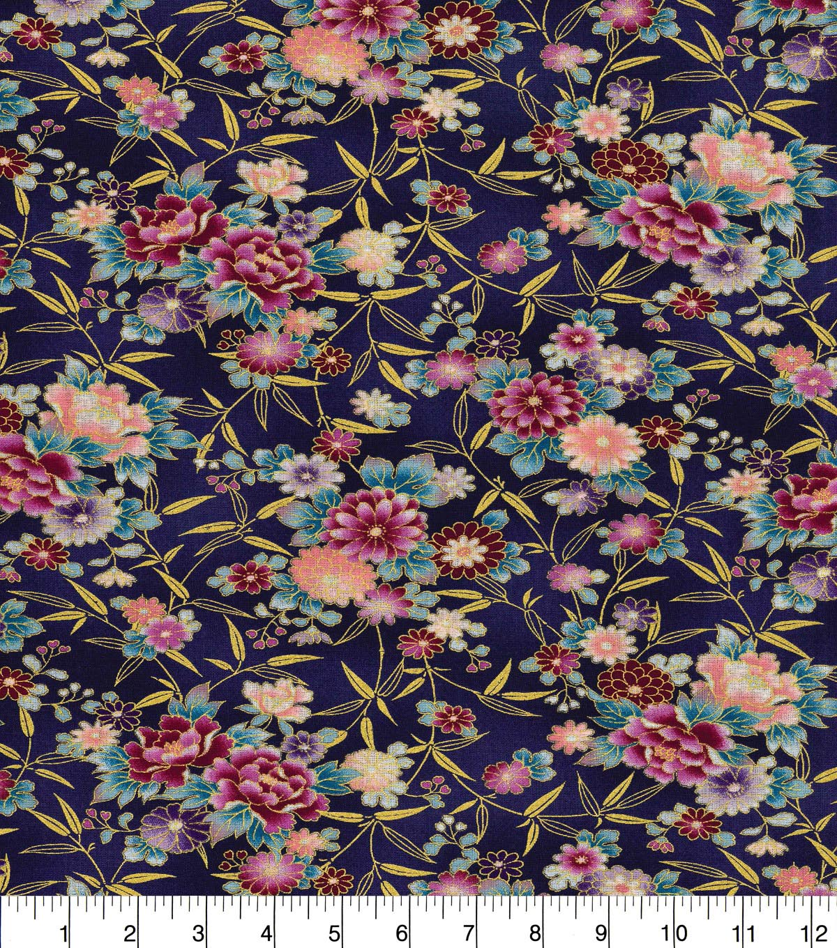 Asian Inspired Cotton Fabric 43\u0022-Small Floral Blue Metallic