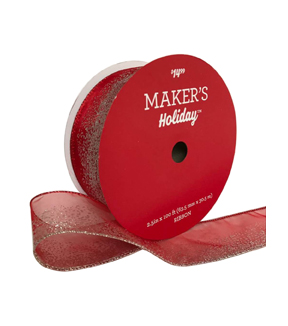 Maker\u0027s Holiday Christmas Value Ribbon 2.5\u0027\u0027x100\u0027-Red Glitter Ombre