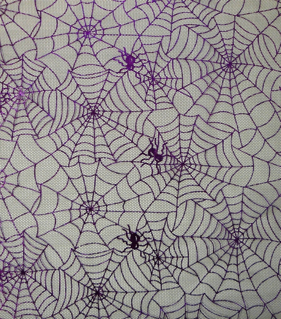 The Witching Hour Halloween Mesh Fabric 59\u0022-Spider Web