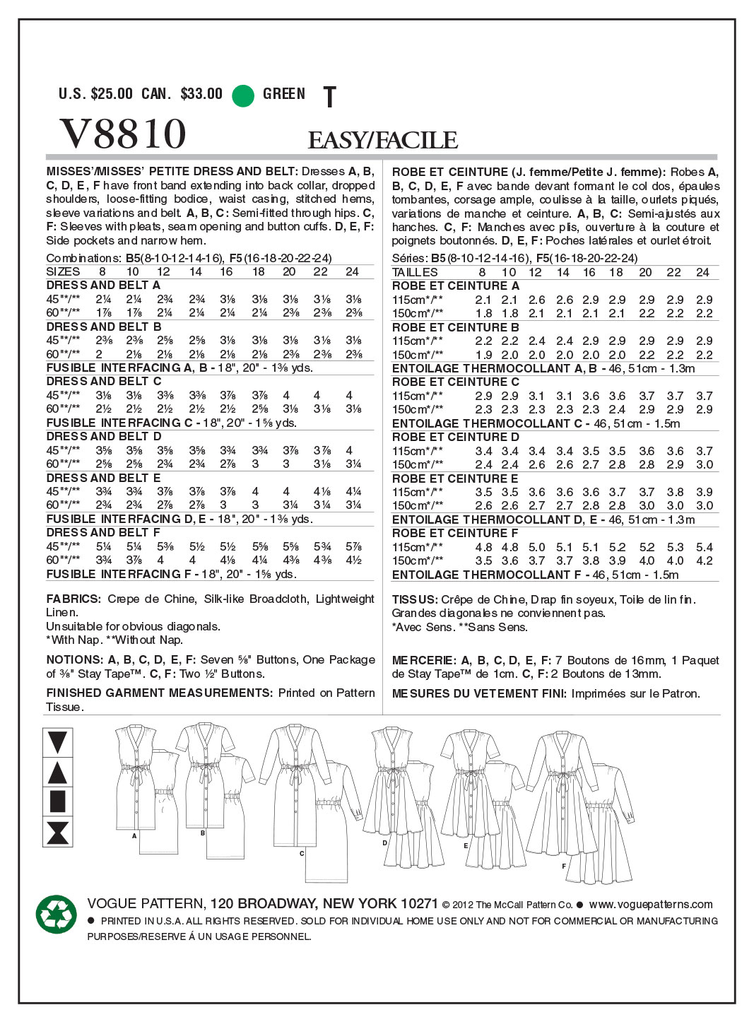 Vogue Patterns Misses Dress-V8810