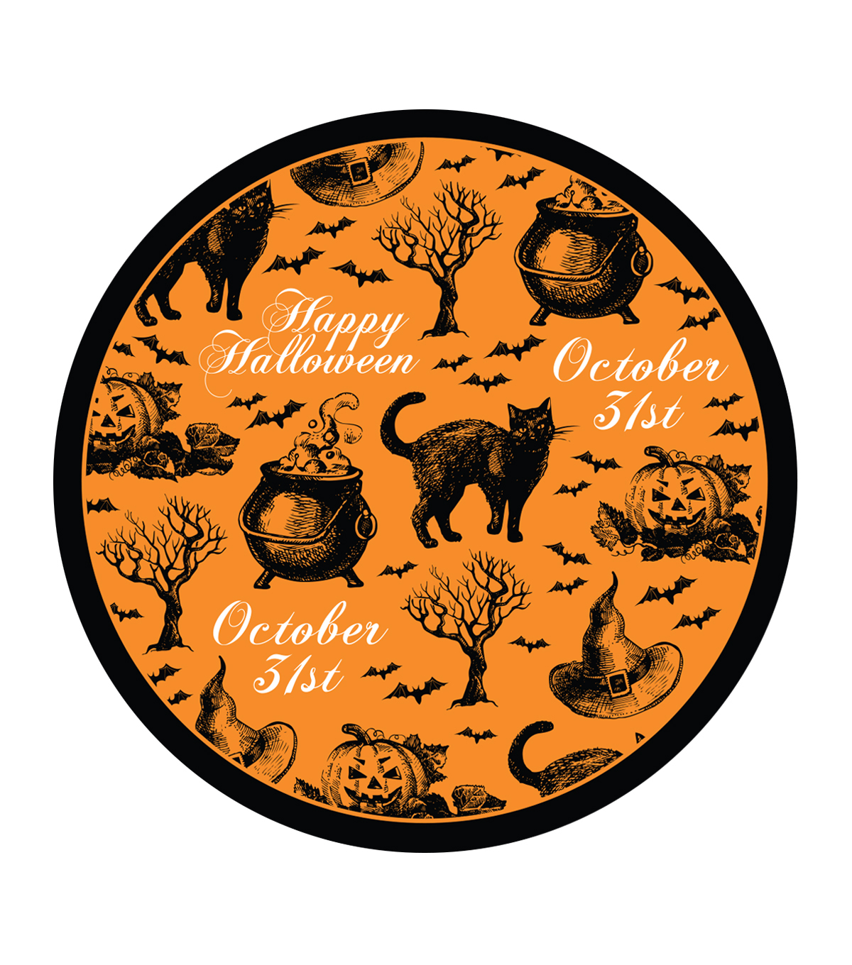 Maker's Halloween 8ct Dinner Paper Plates-Witchy Cat
