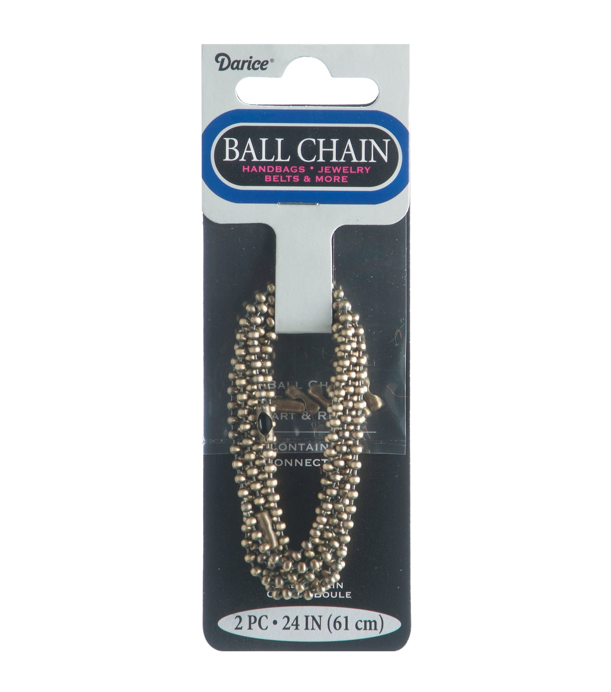 "Ball Chain Metal Plated Chain 1.8mm 24"" 2/Pkg-Bronze"