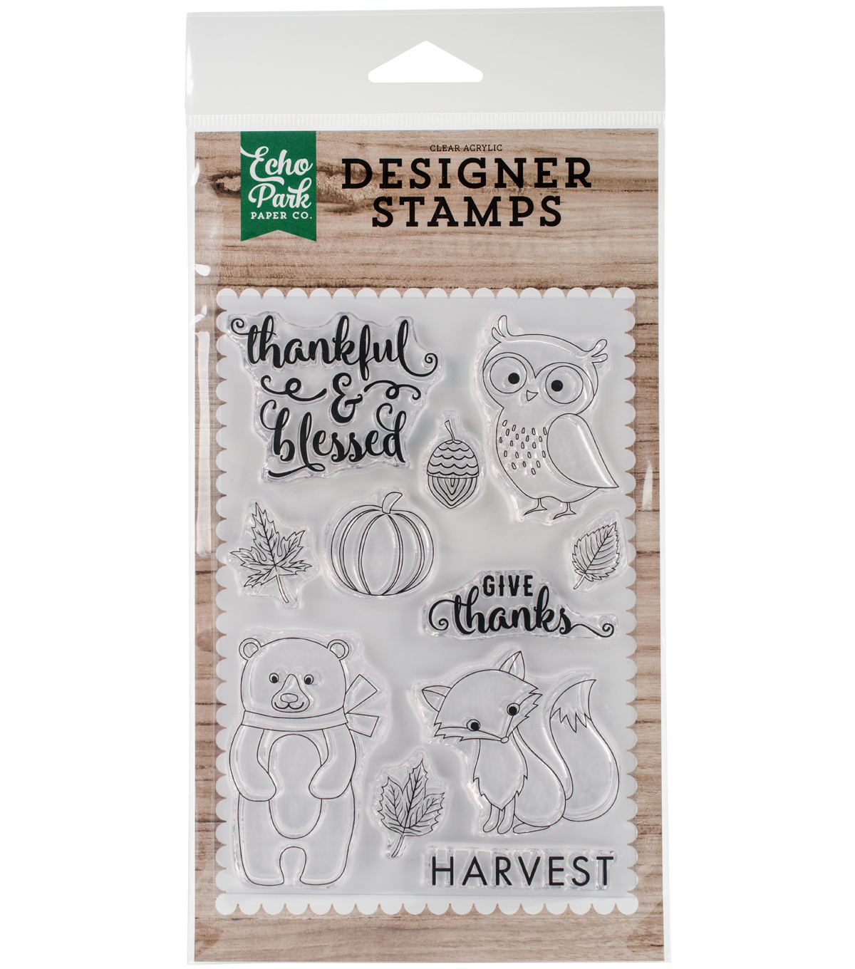 Echo Park Paper Company 11 pk Clear Stamps-Thankful & Blessed