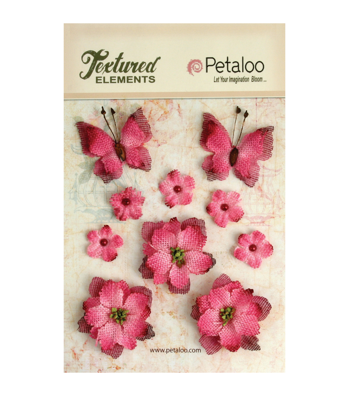 Petaloo Textured Elements Burlap Flowers/Butterflies Embellishments
