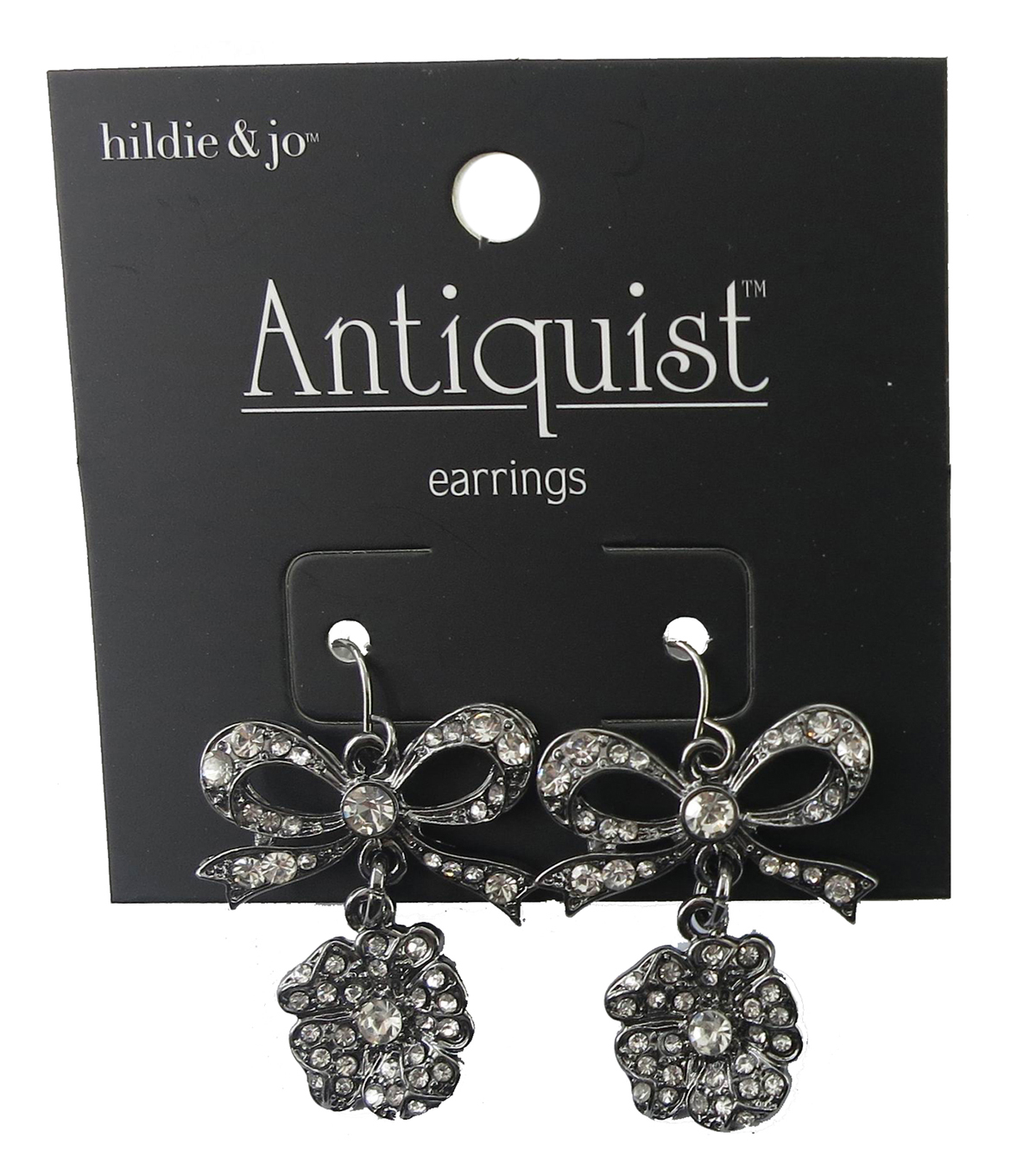 hildie & jo™ Antiquist Bow & Flower Silver Earrings-Crystals