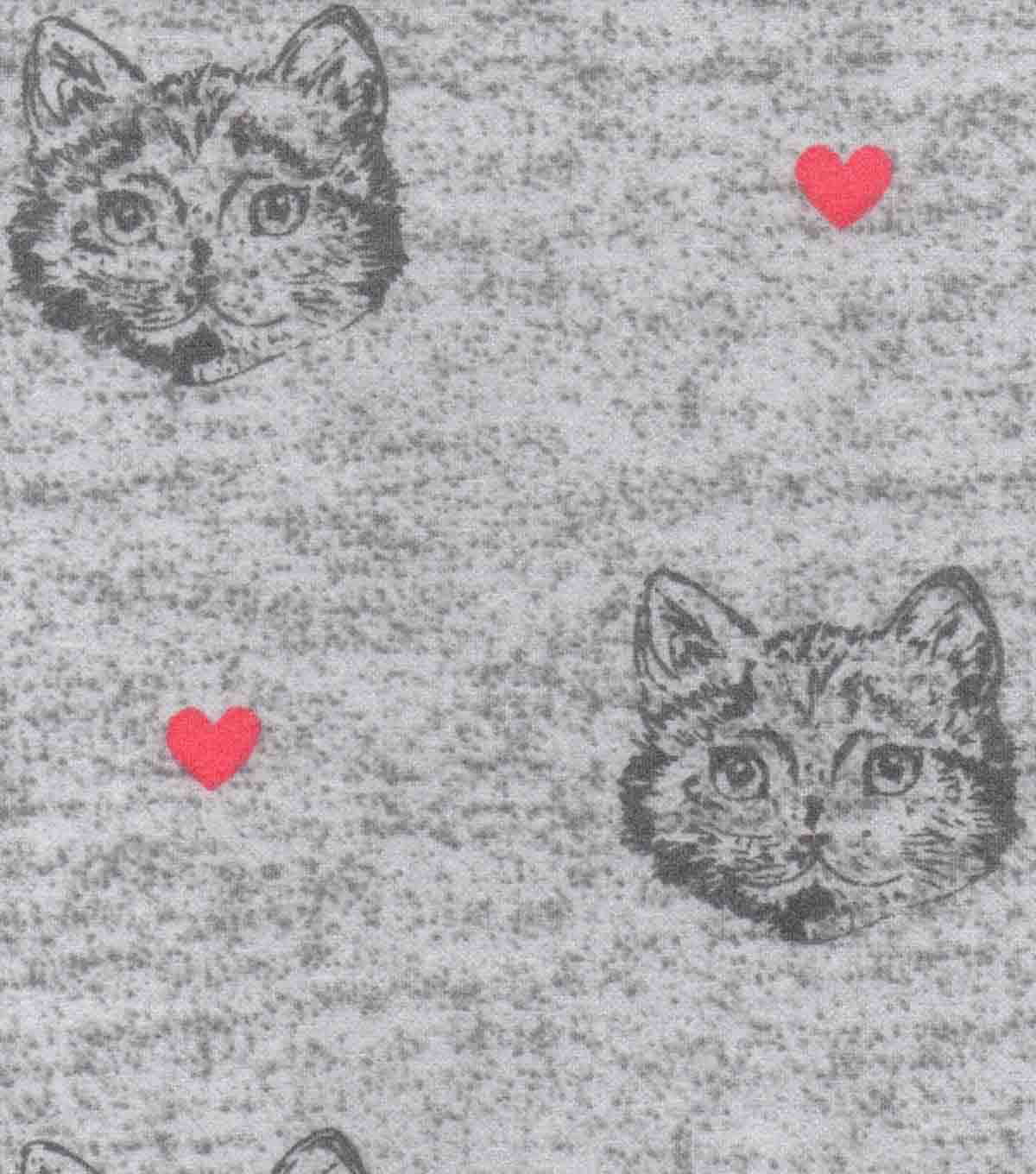 Luxe Flannel Fabric 42\u0022-Cat Gray Heather