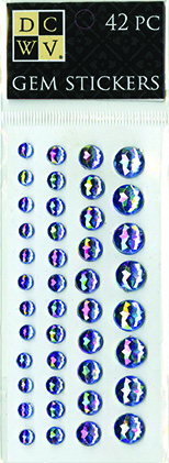 DCWV Iridescent Gem Stickers-Blue Metallic assortment