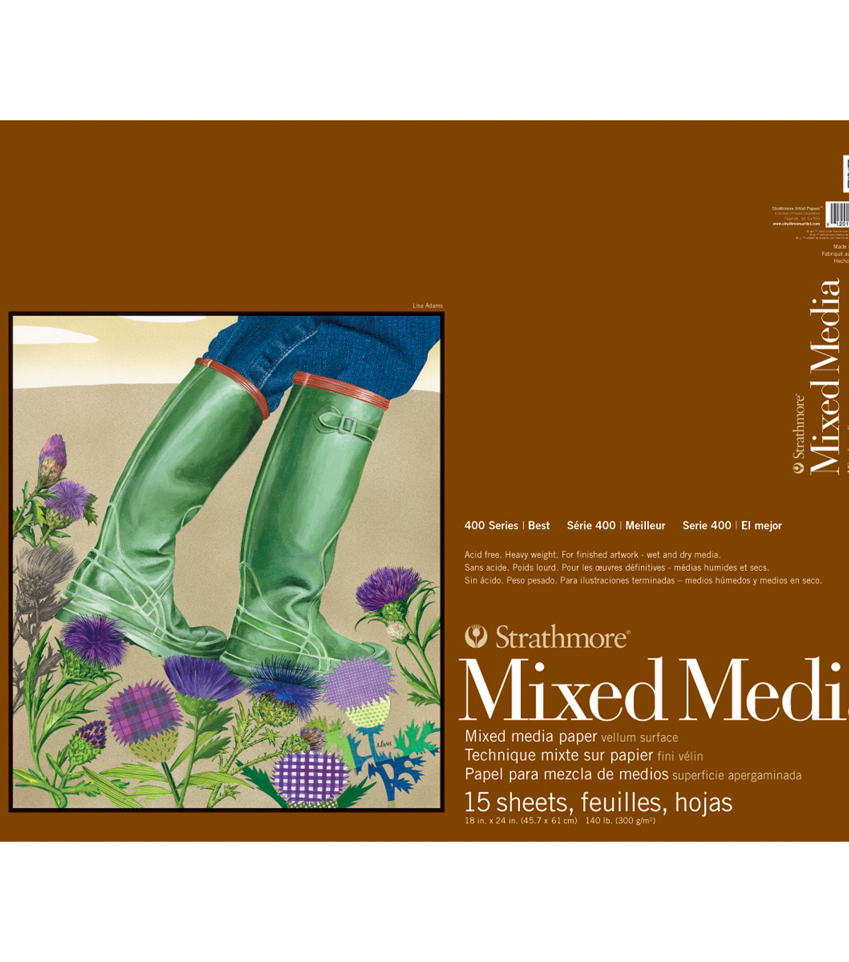 "Strathmore Mixed Media Vellum Paper Pad 18""X24""-15 Sheets"