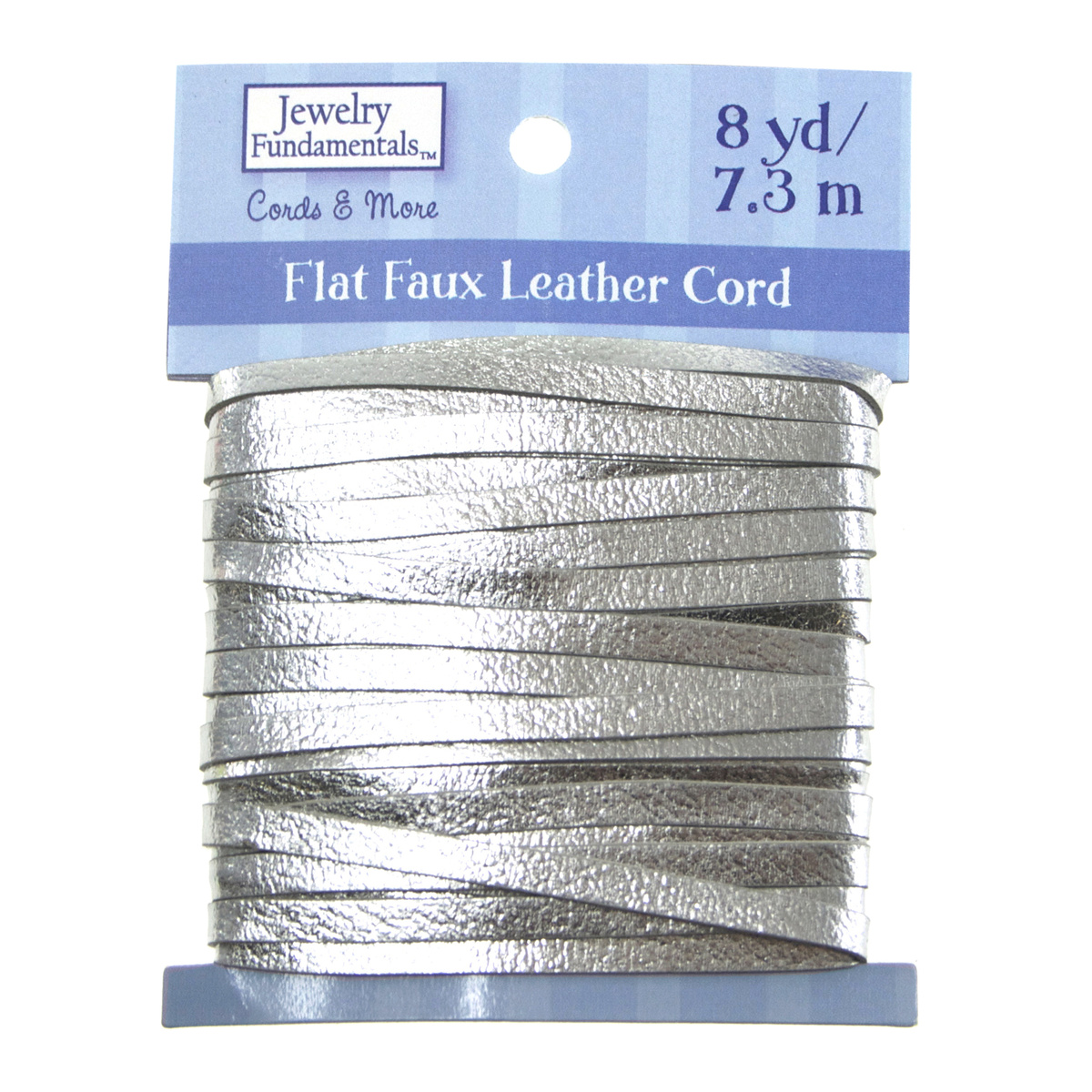 Jewelry Fundamentals Cords&More Flat Faux Leather Cord-Silver Met.