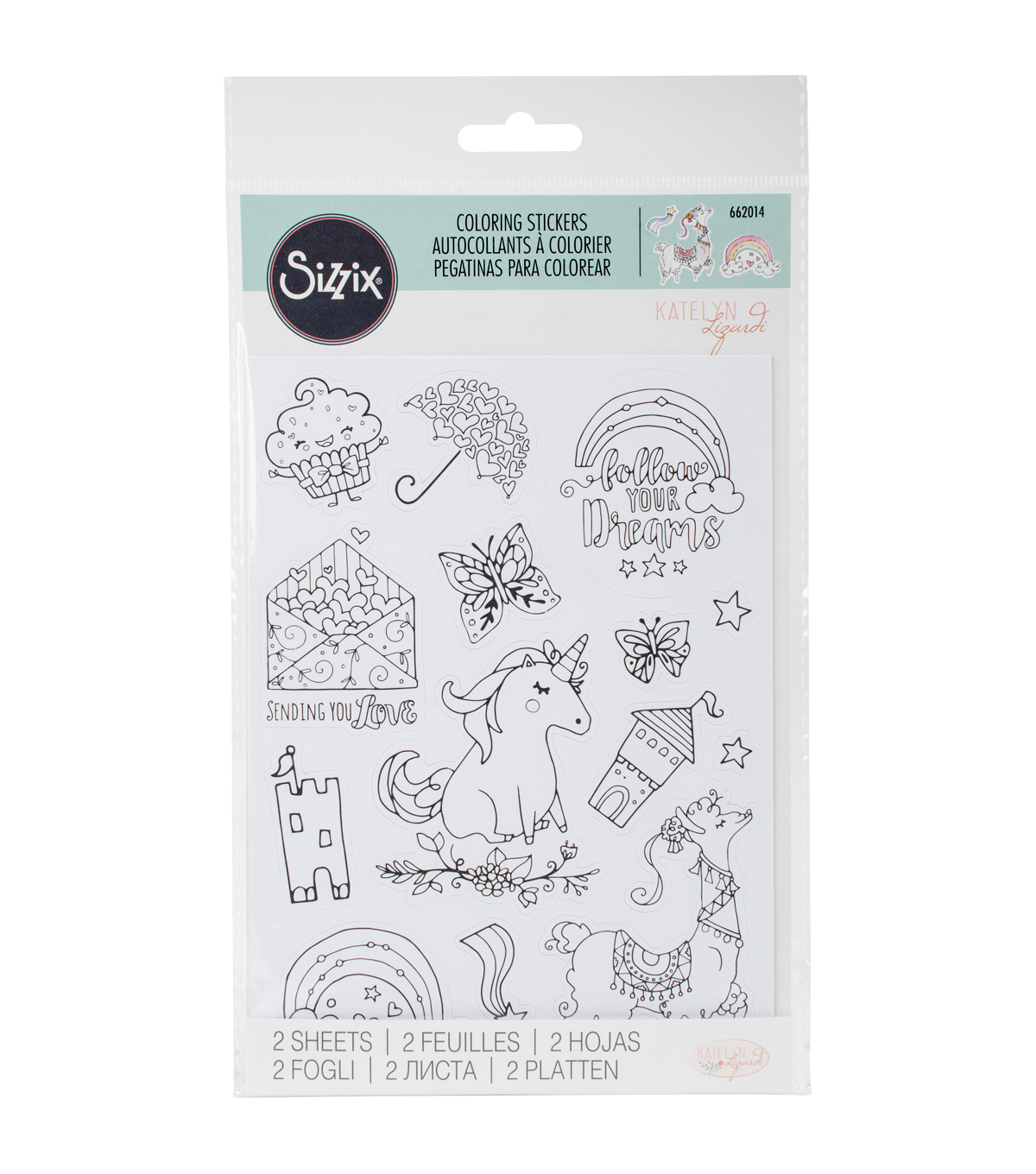 Sizzix® Katelyn Lizardi 2 Pack Coloring Stickers-Follow Your Dreams