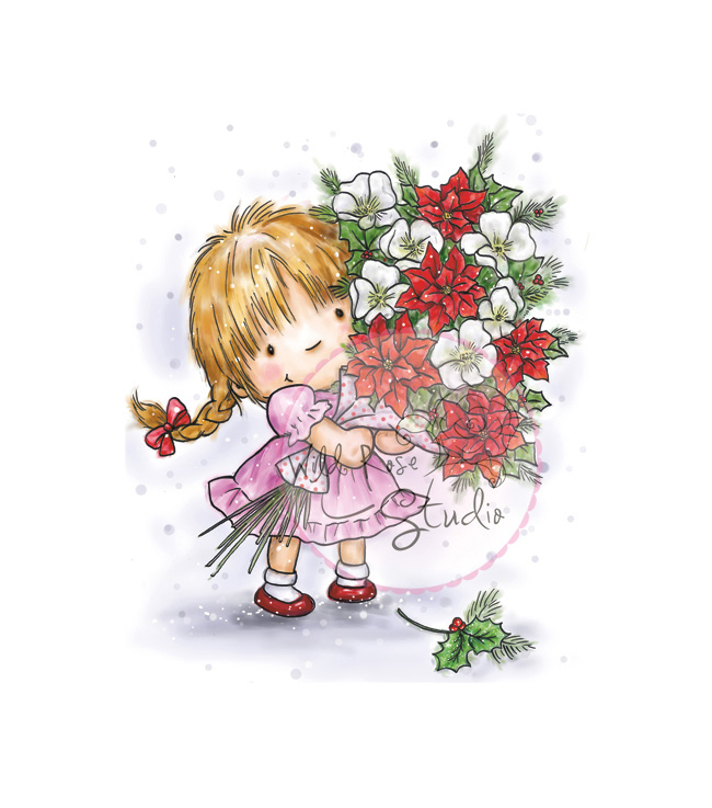 Wild Rose Studio Ltd. Clear Stamp 3.5\u0022X3\u0022 Sheet-Girl W/Christmas Bouquet