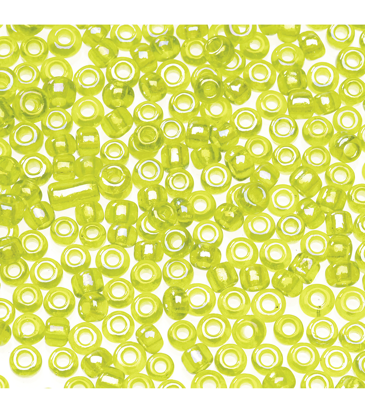 Glass Seed Beads-Lt. Green Transparent, Rainbow Effect, 10/0, 20 grams