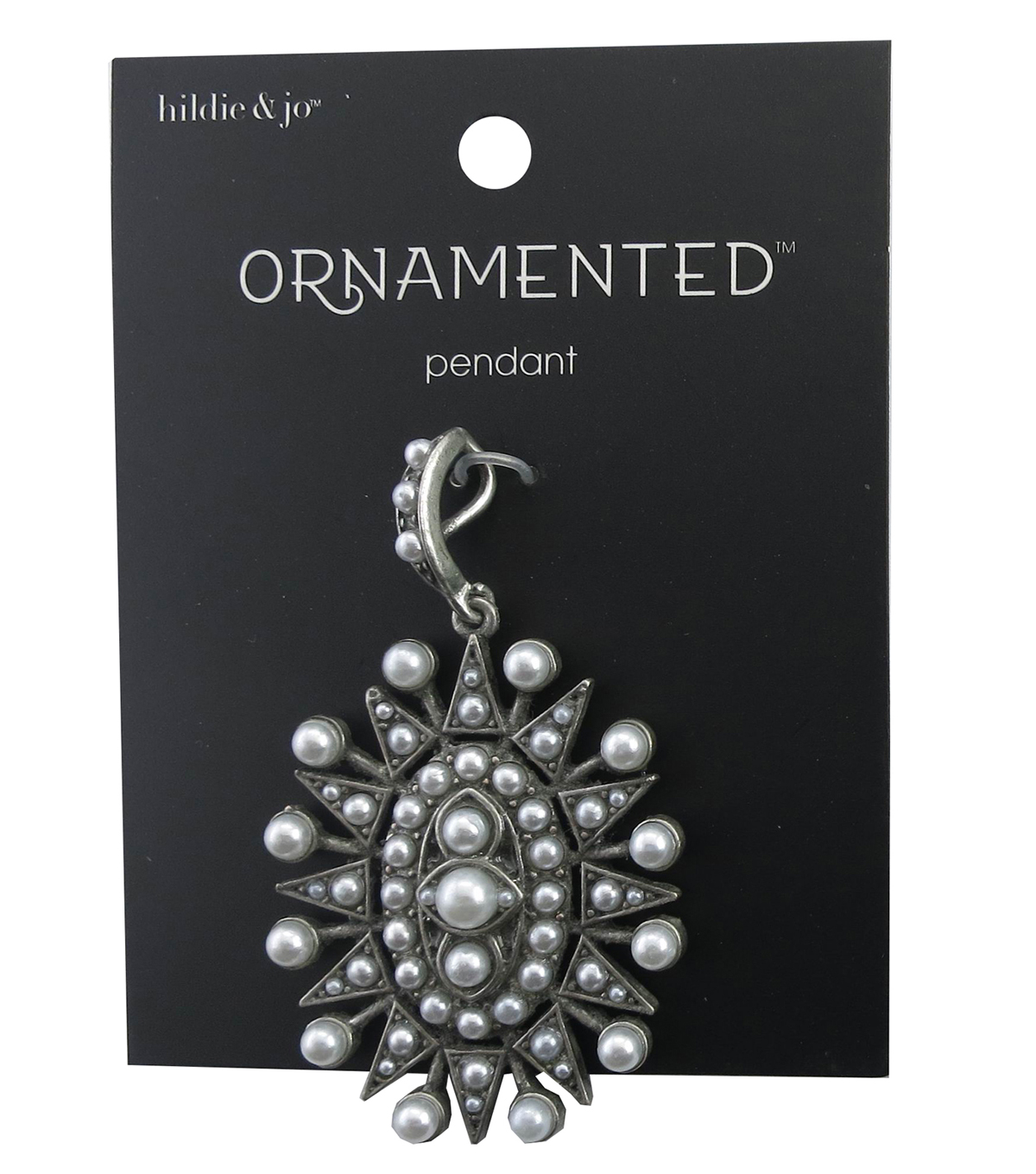 hildie & jo™ Ornamented Oval Antique Silver Pendant-Pearls