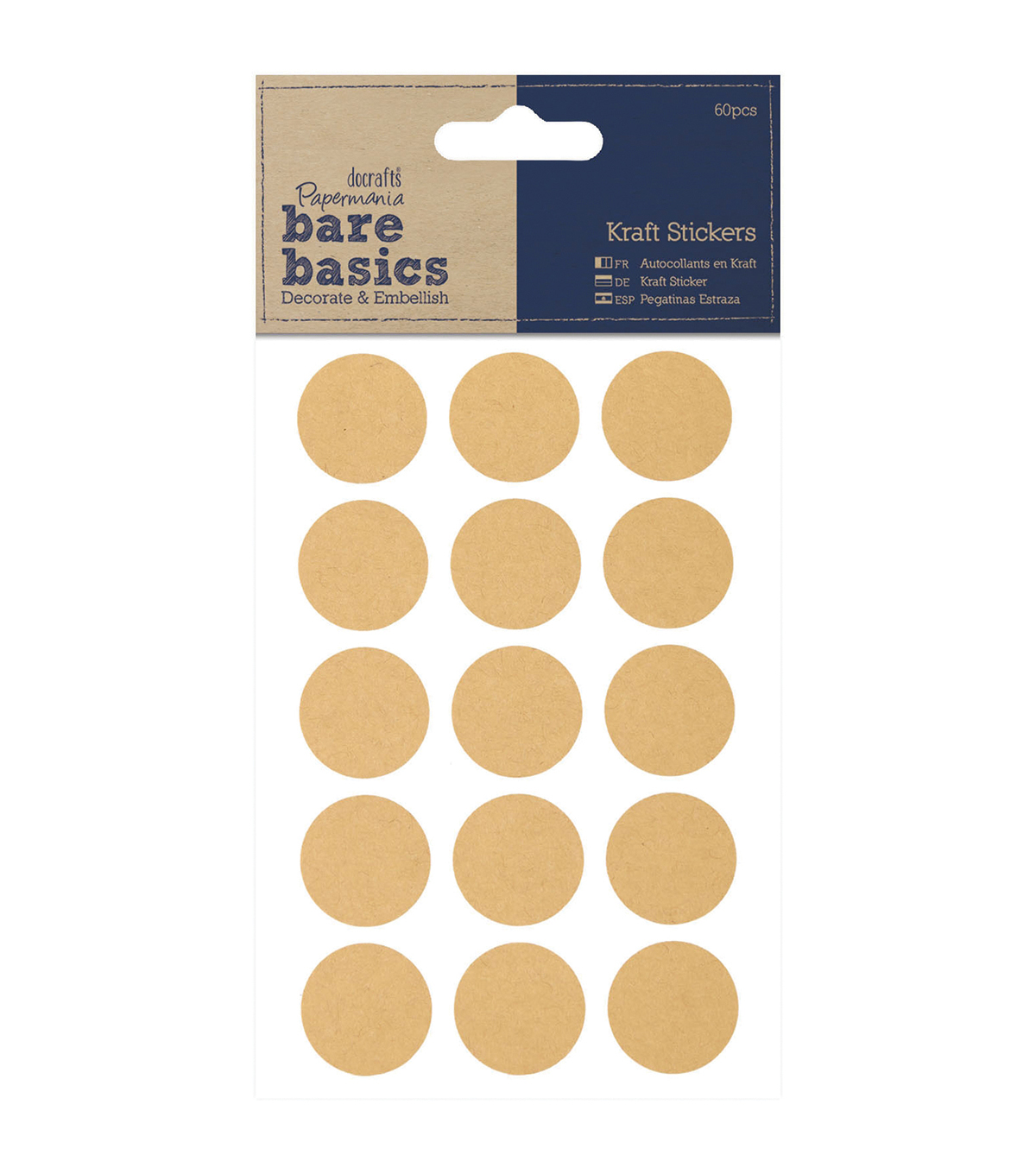Papermania Bare Basics Circles Kraft Stickers