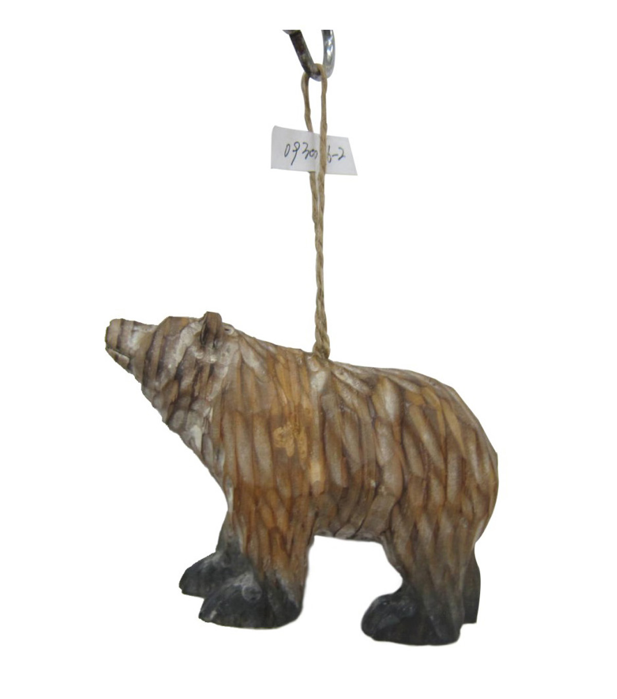 Maker\u0027s Holiday Christmas Woodland Lodge Wooden Bear Ornament-Brown