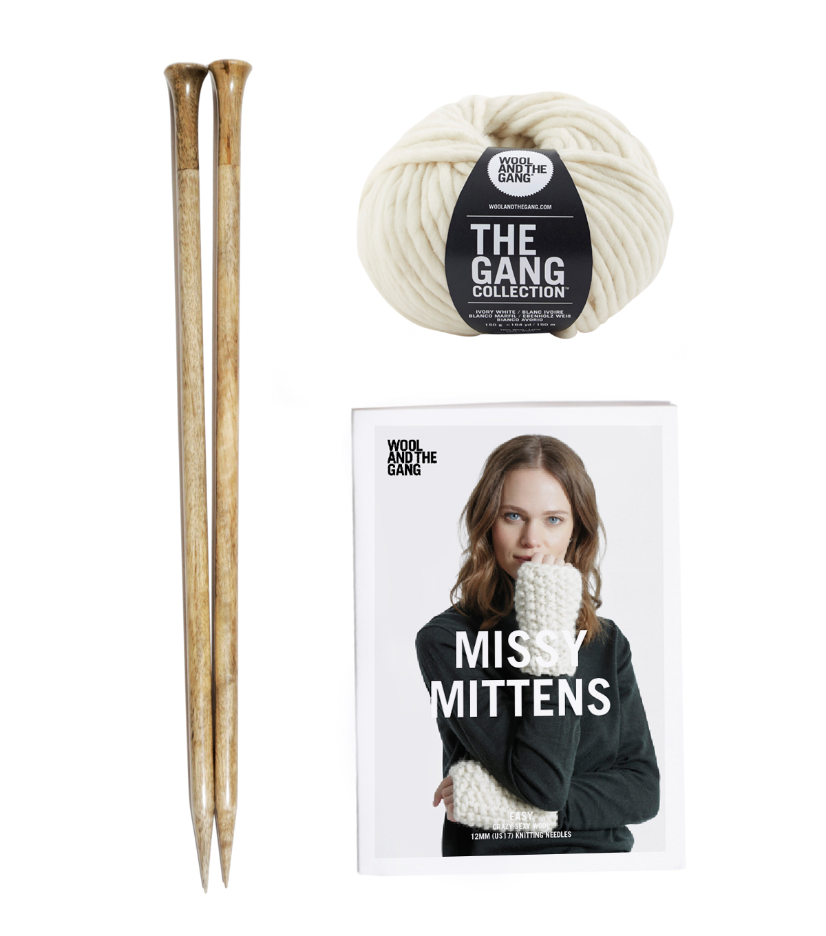 Wool And The Gang Missy Mittens Knit Kit-Ivory White