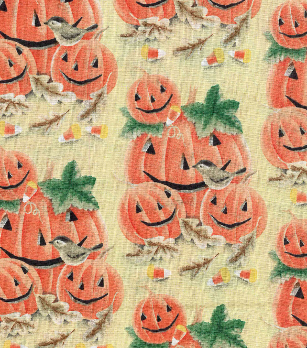 Halloween Cotton Fabric 43\u0022-Smiling Pumpkin Patch