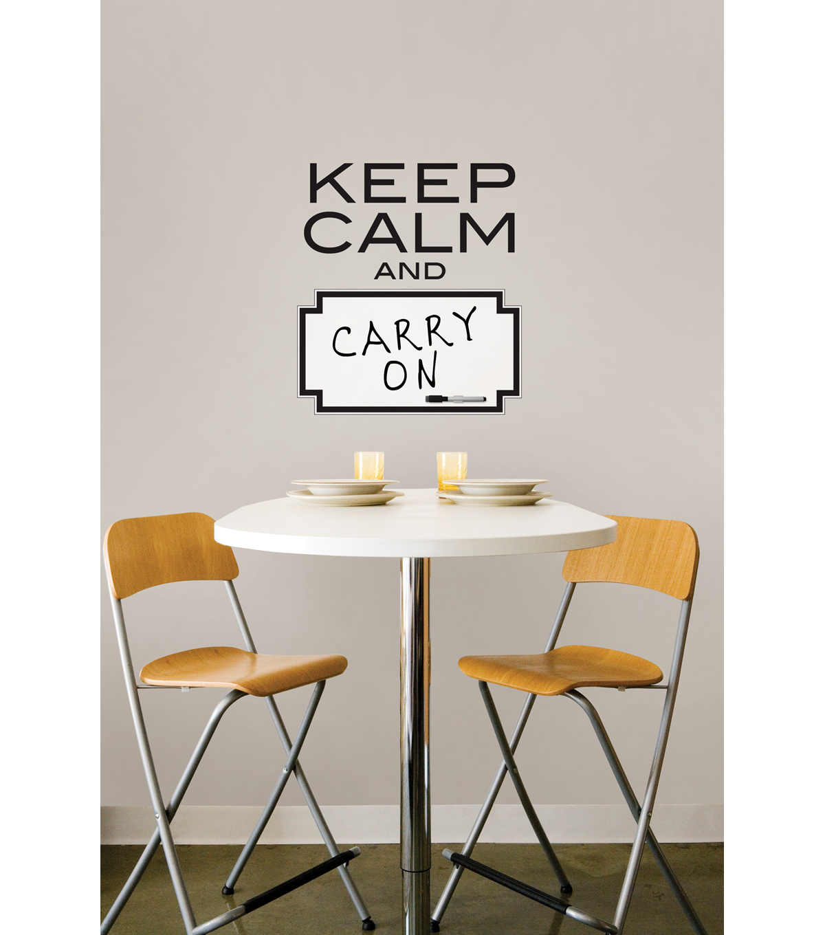 Wall Pops Keep Calm and Dry Erase Wall Quote Decals, 17\u0022 x 19\u0022