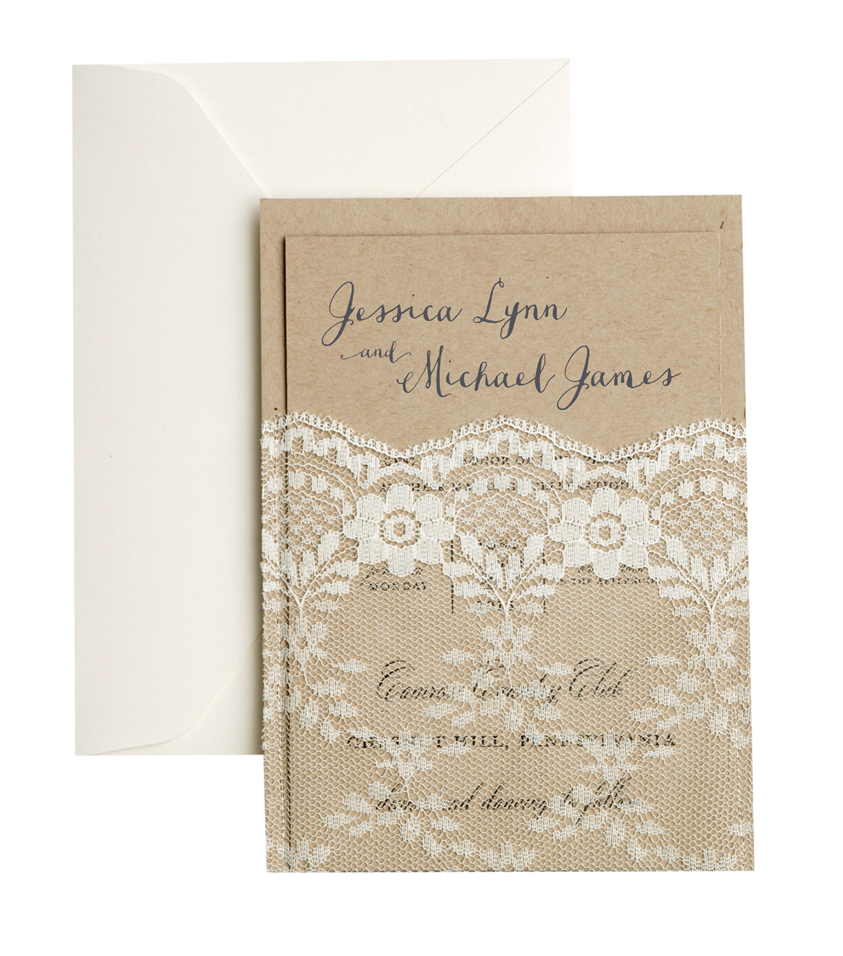 Save The Date™ 25 Pack Kraft Invitation Cards with Lace Pocket
