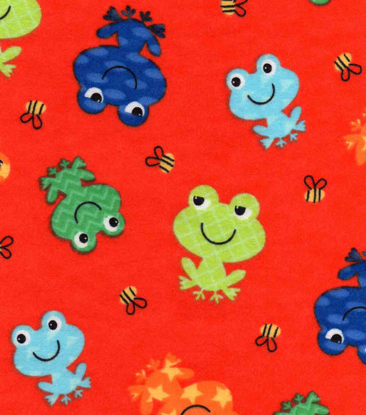 Snuggle Flannel Fabric 42\u0027\u0027-Happy Frogs & Bees