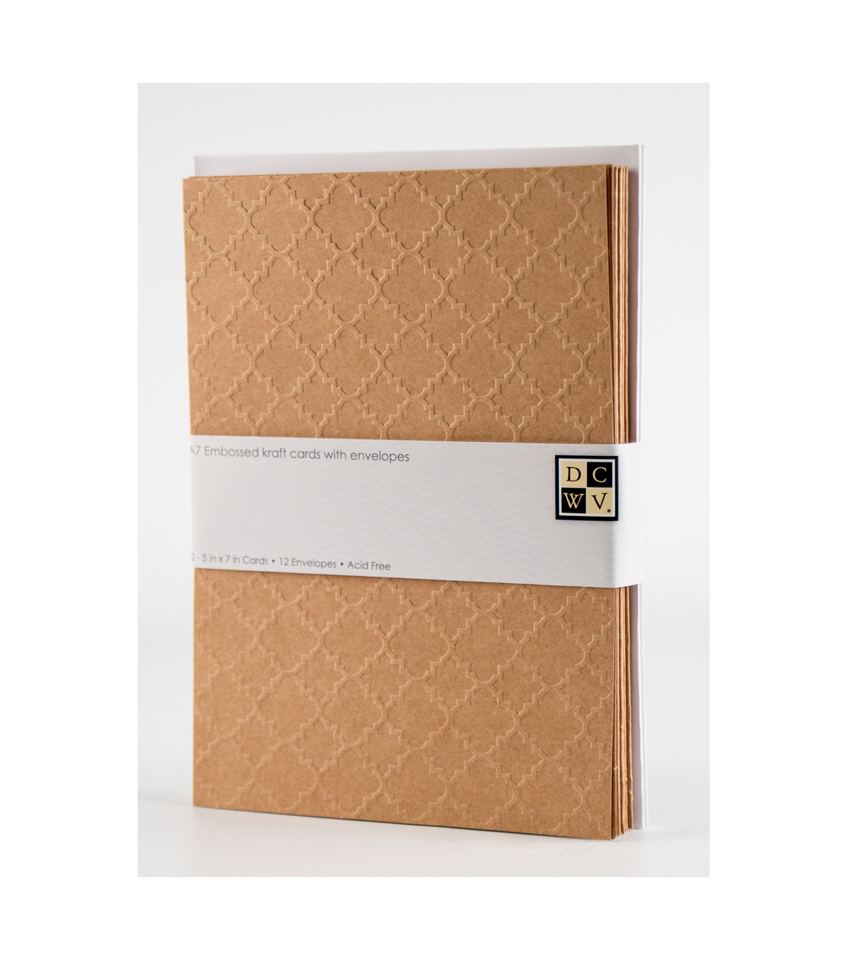 DCWV A7 12 pack card and envelope set: Embossed Kraft cards