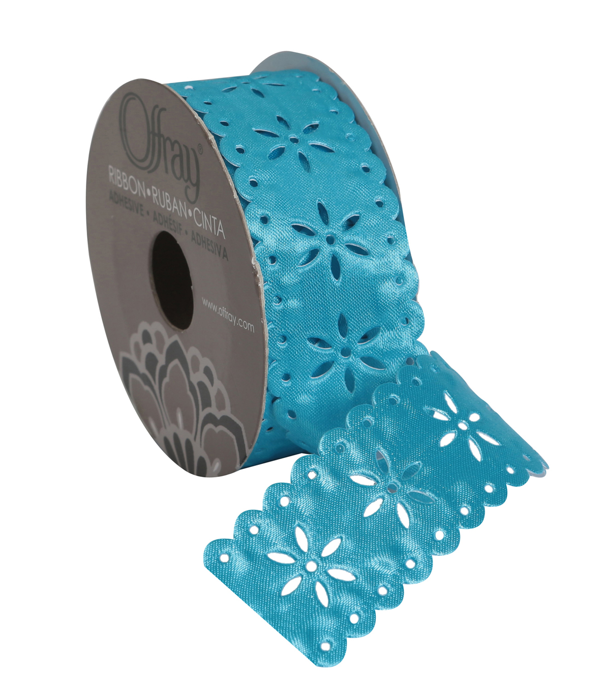 "Flower Cut Ctr 1.25"" Turquoise Ribbon"