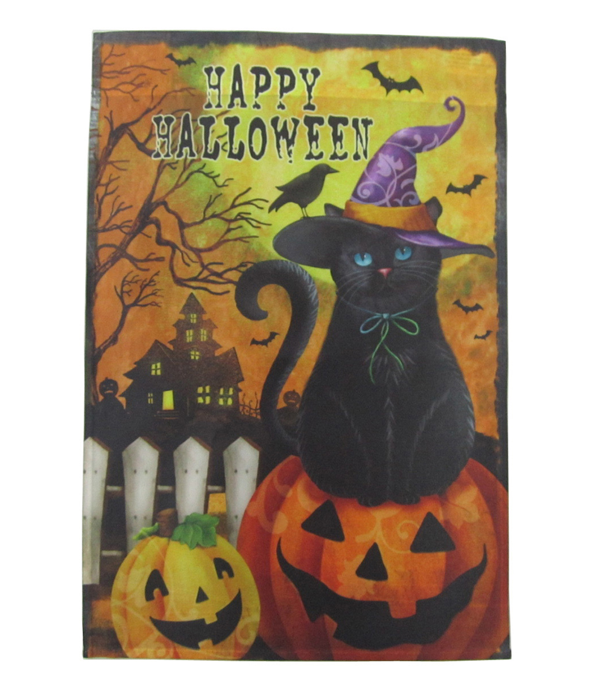 Maker\u0027s Halloween Flag 12\u0022x18\u0022-Pumpkin, Cat & Happy Halloween