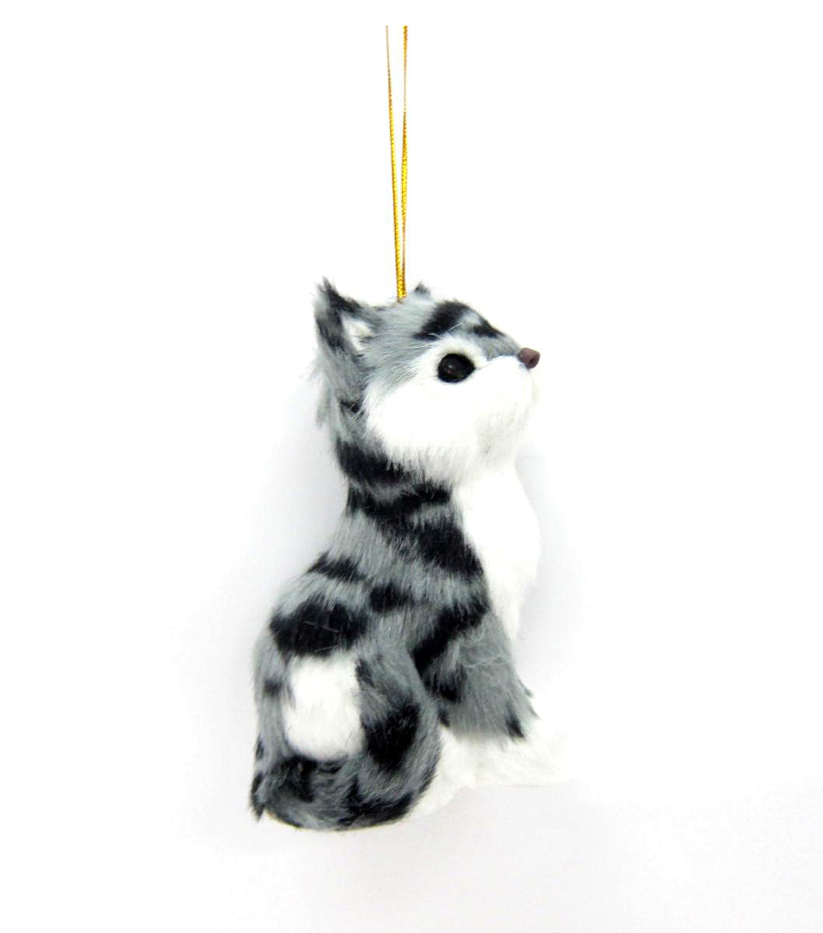 Maker\u0027s Holiday Furry Grey and Black Cat Ornament