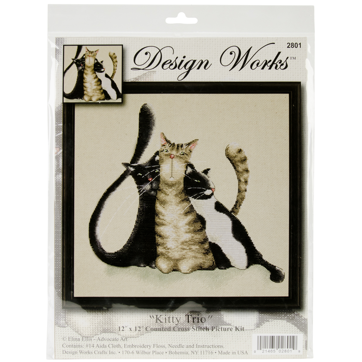 Kitty Trio Counted Cross Stitch Kit-12\u0022X12\u0022 14 Count