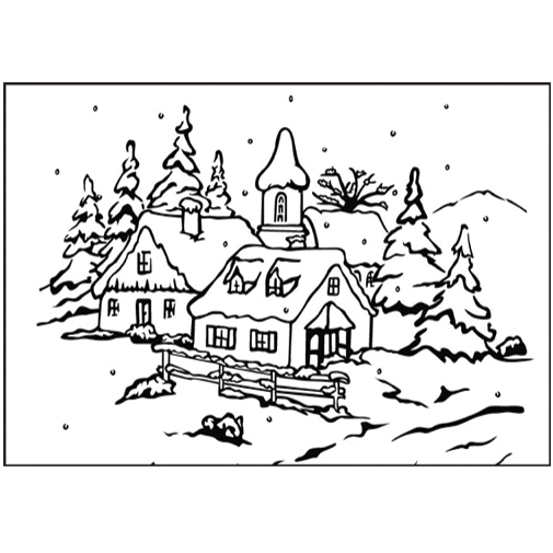 Nellie's Choice Picture Embossing Folder Peaceful Village 3