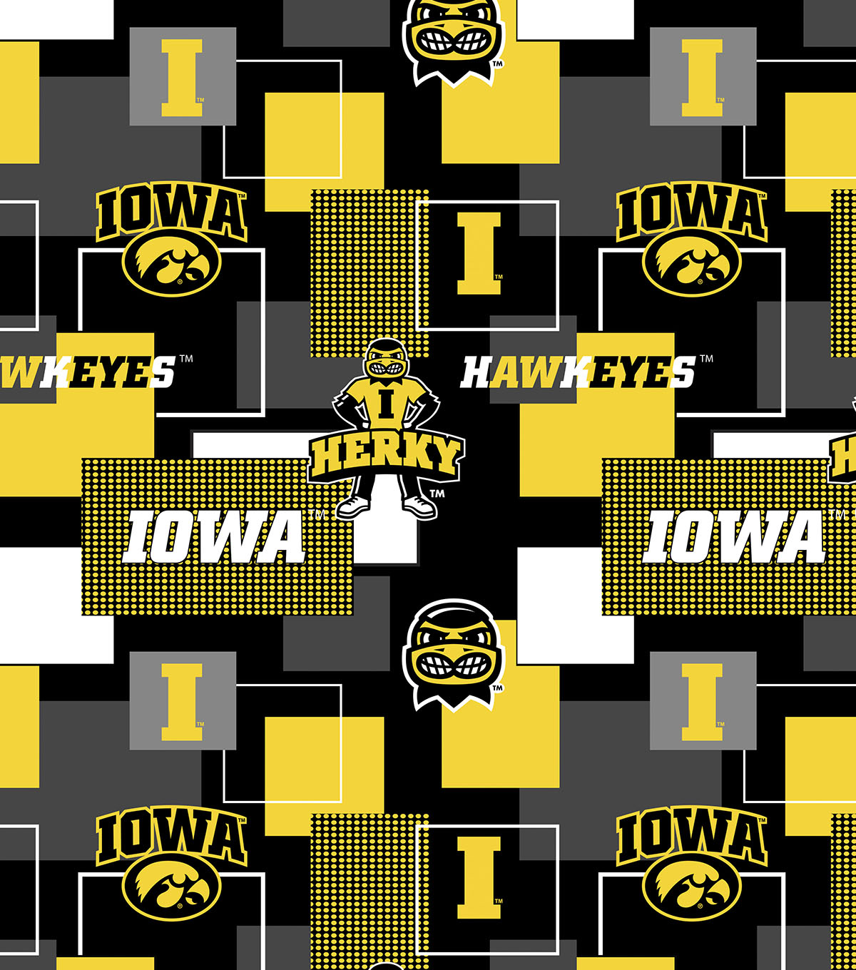 University of Iowa Hawkeyes Fleece Fabric 58\u0022-New Block
