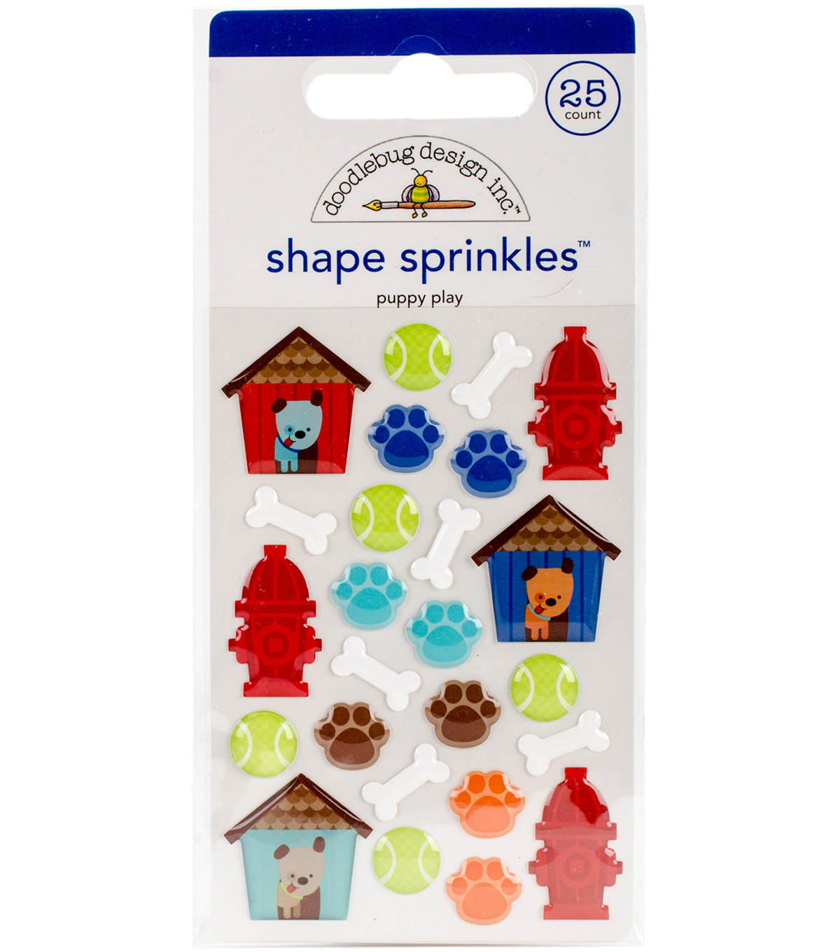 Doodlebug Sprinkles Adhesive Glossy Enamel Shapes-Puppy Play