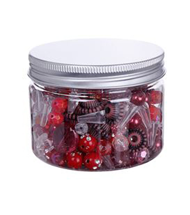 hildie & jo™ Fashion Beads in Plastic Jar-Red, Clear & Brown