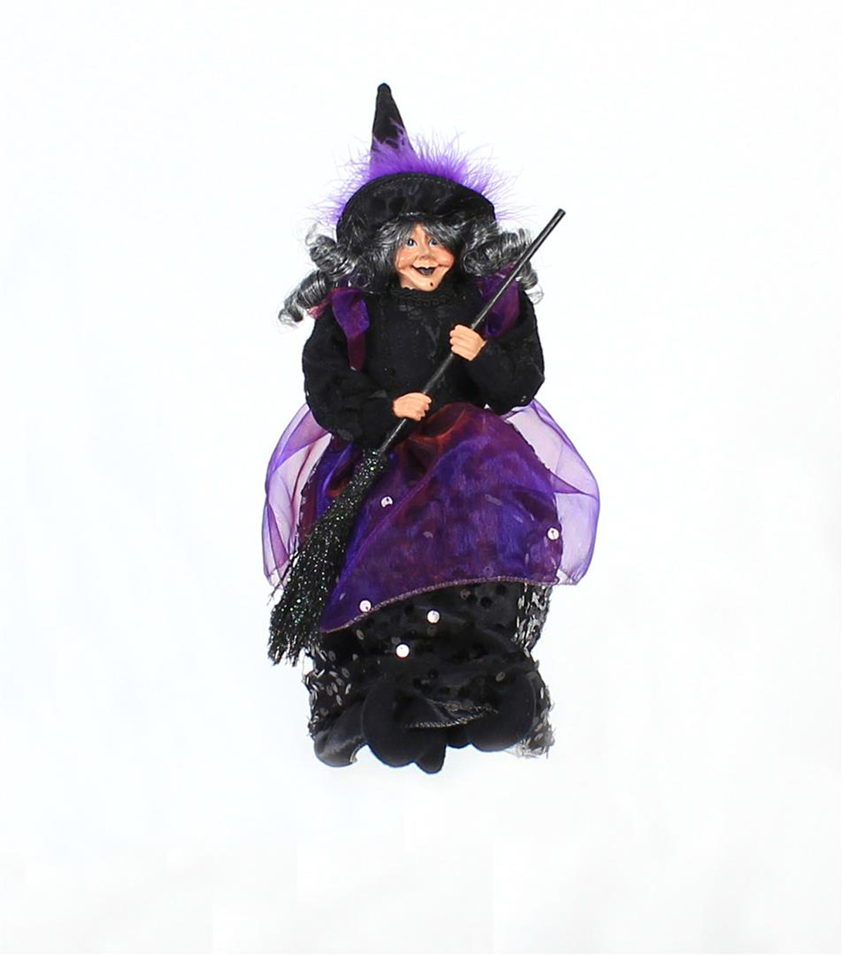 Maker's Halloween Polyester & Plastic Sitting Witch with Hanger