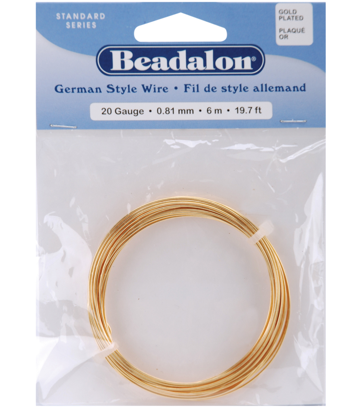 Beadalon German Style Round Wire 20 Gauge 19.7 Feet/Pkg-Gold