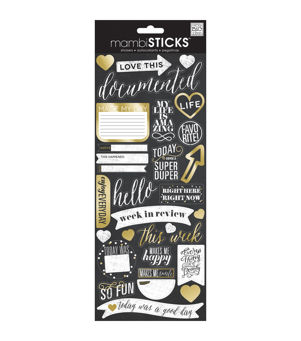 Me & My Big Ideas® Specialty Stickers-Chalk - Love This Gold Foil