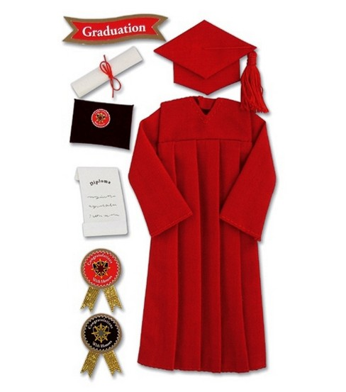 Jolee\u0027s Boutique Le Grande Ornate Stickers-Graduation Cap & Gown/Red