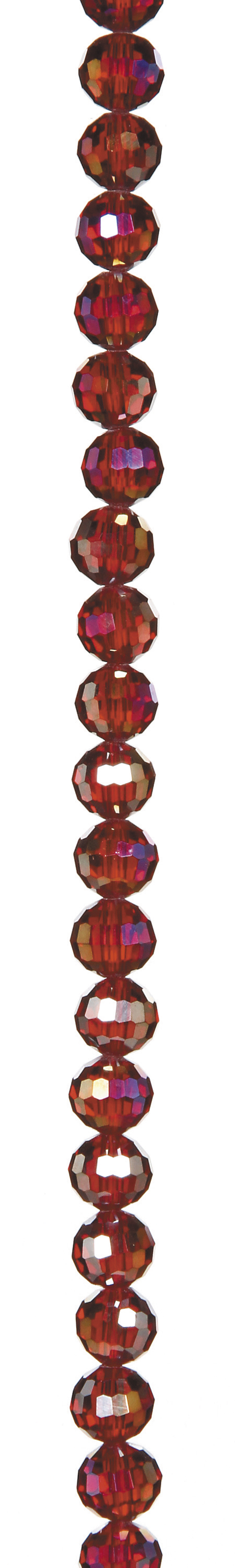 "7"" Bead Strands - Lt. Siam AB Crystal Faceted Rounds, 8mm"
