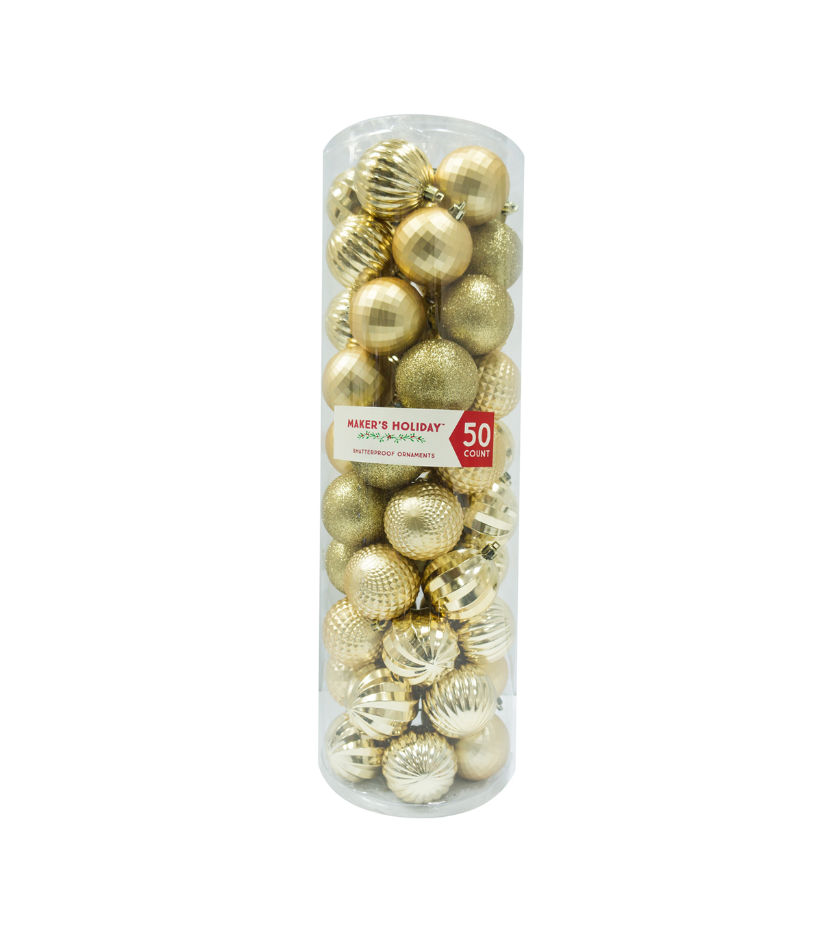 Maker's Holiday 50ct Shatterproof Ornaments-Gold
