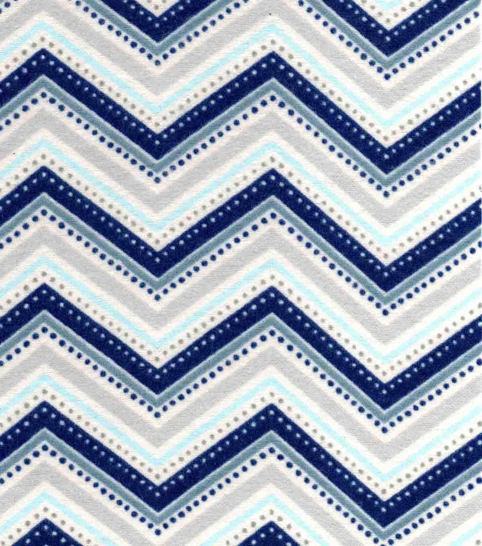 Snuggle Flannel Fabric-Navy Grey Chevron | JOANN