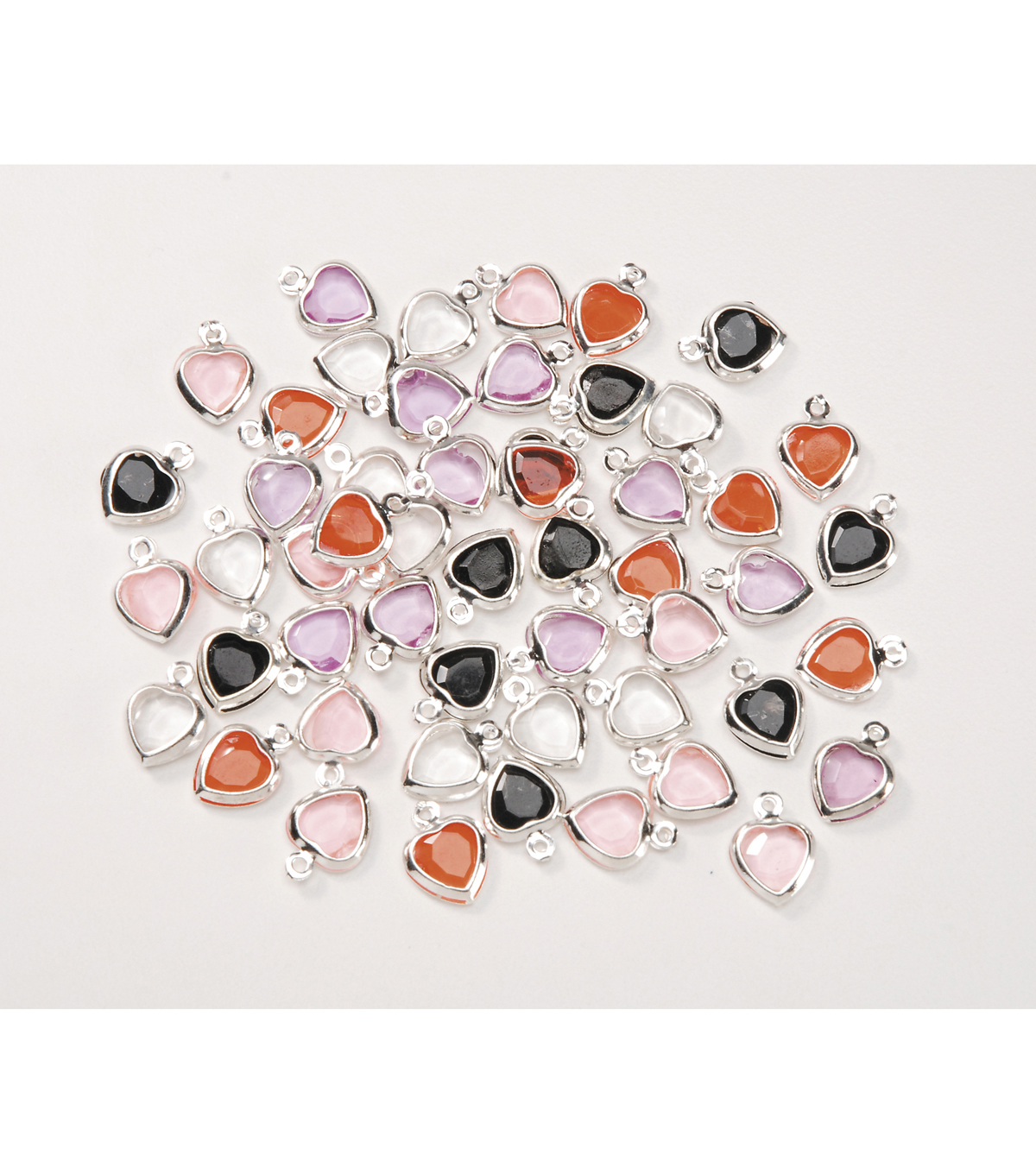 Acrylic Heart Shaped Charms, Assort. Colors, 8.8mm x 11.8mm, 50pcs/pkg