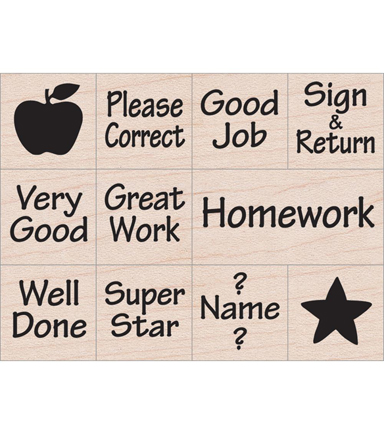 Hero Arts® 11 Pack Wood Mounted Rubber Stamps-Messages from Teacher