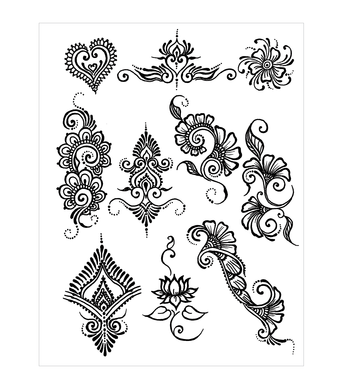 Easy Mehndi Patterns To Copy : Akyio henna stencils pack earth designs joann