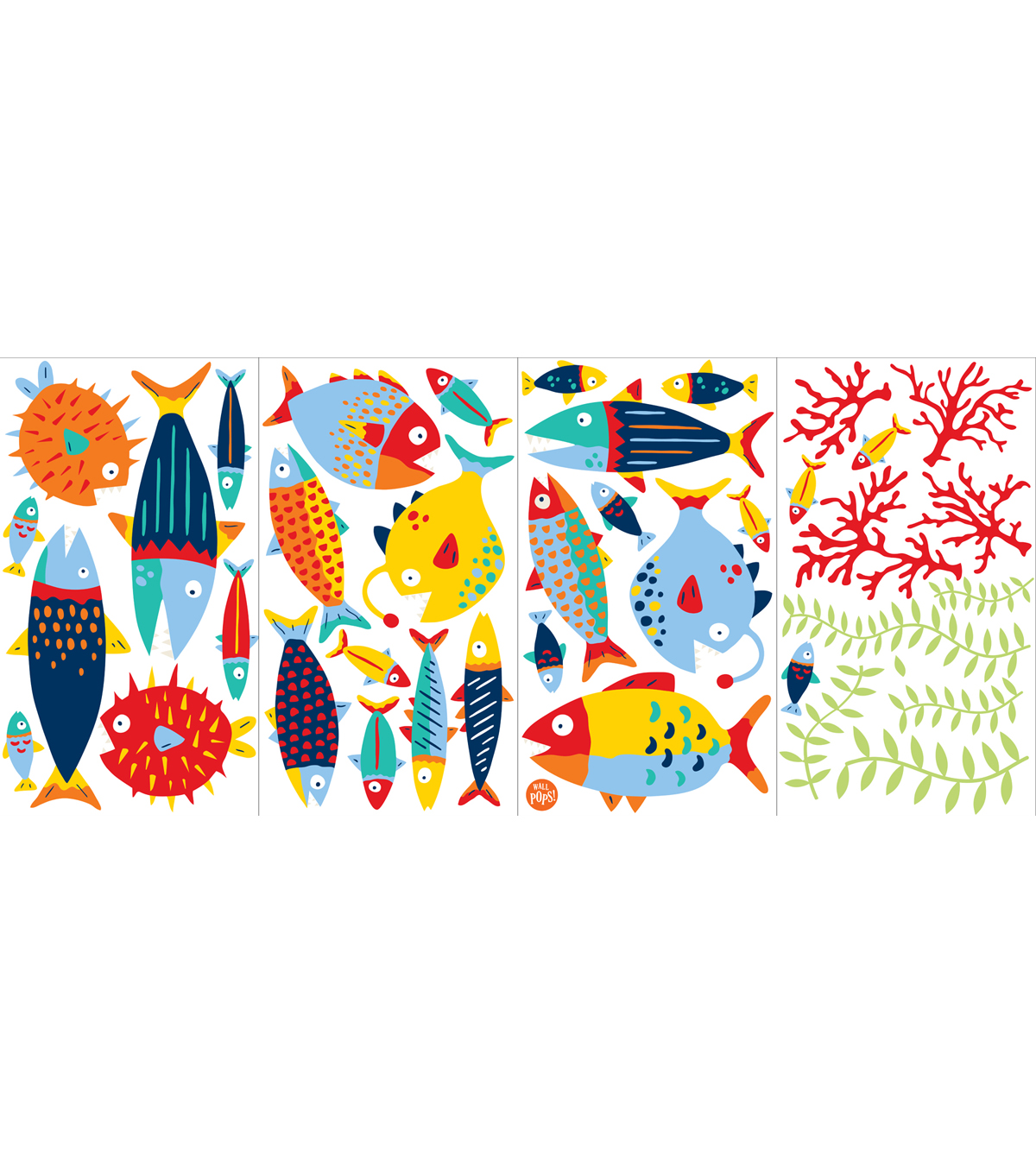 Wall Pops Fish Tales Wall Art Decal Kit, 38 Piece Set
