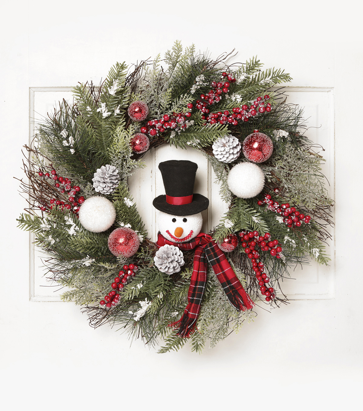 Blooming Holiday 24'' Grapevine, Snowman, Berry & Pinecone Wreath