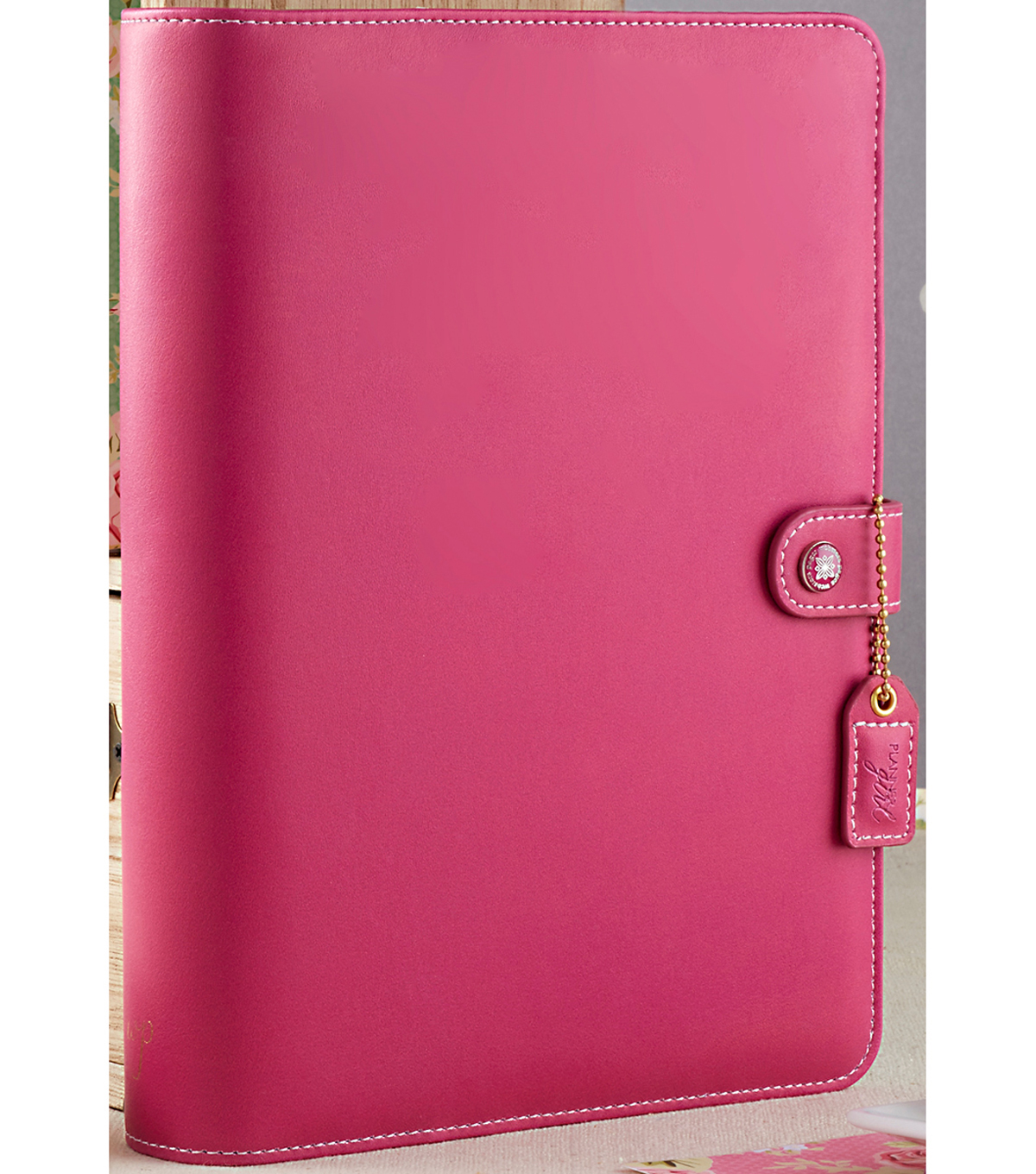 "A5 Faux Leather 6-Ring Planner Binder 7.5""X10""-Fuchsia"