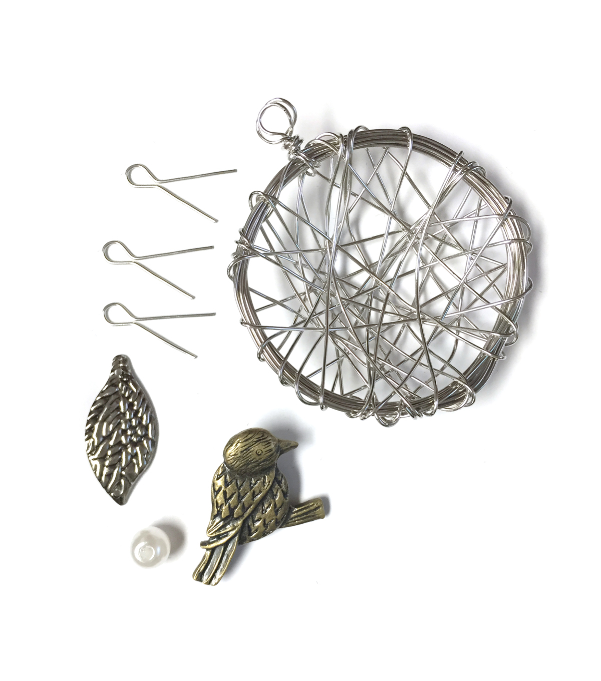 Blue Moon Beads Customizable Pendant Kit Birds Nest with Leaves & Eggs