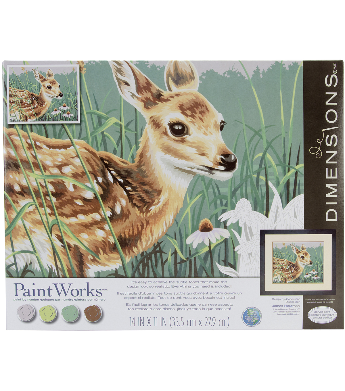"Paint By Number Kit 14""X11""-Fawn & Flowers"