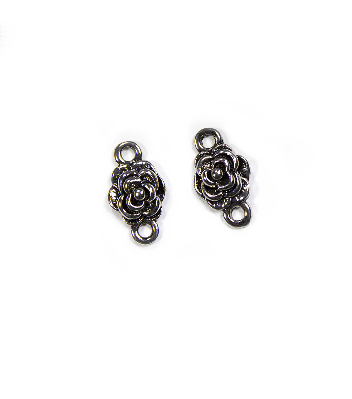 Blue Moon Findings Connector Metal Rose Antique Silver